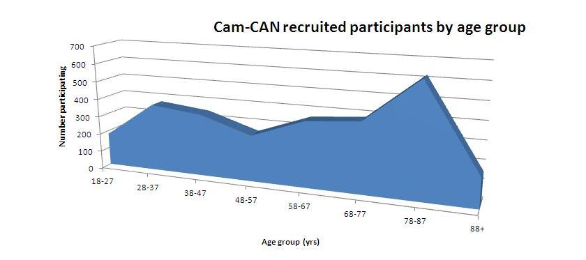 Recruited Cam-CAN participants by age group